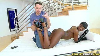 Long legged black seductress ana foxx gets her wet round ass and bare pussy touched by curious white guy. he explores her sexy body before hot dark skinned babe in gloves takes his hard dick in her mouth.