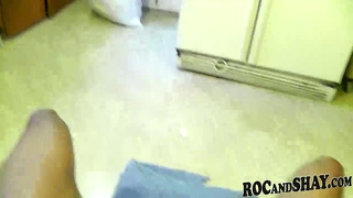 Ebony blowjob in kitchen by african couple !!