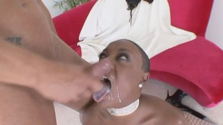 Bald ebony lady with huge tits banged by white man