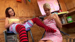 Lesbian action with sweet ladies gloria and pink pussy who shows real girl's love