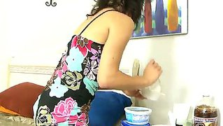 The appetizing wife aubrey sky with the seductive forms makes a dinner an shows her body