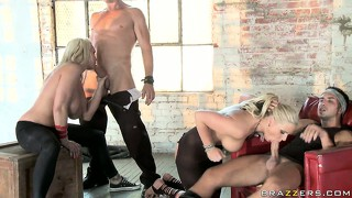 Two rude studs getting the best of loose busty blondes' holes