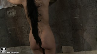 Kathia has miho tied up to the wall and plays with her nice ass