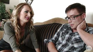 Young geek gets a milf treat