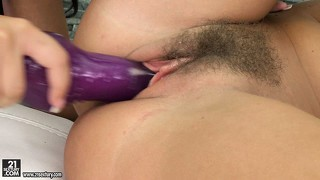 With the precious help of a dildo, the hotties drive their wet cunts to climax