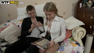 Gorgeous blonde schoolgirl with perky tits doesn't shy away from a big cock