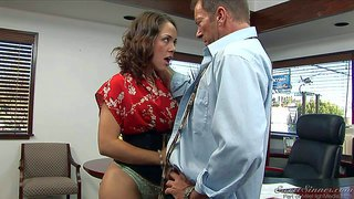 Sexy brunette secretary kristina rose with an amazing ass in provocative undies gets some benefits from her turned on boss randy spears and enjoys in hot office sex session after the work