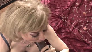 Mature blonde nina hartley sucks extreme and huge black dick using all her experience