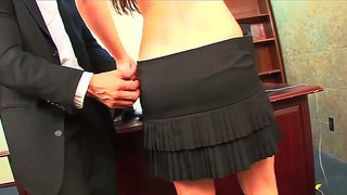 Young long haired ashlyn rae gets boned in office