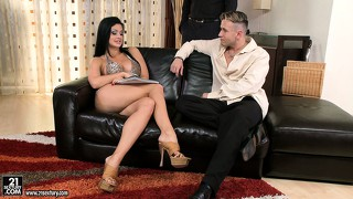 Busty brunette aletta gets felt up by two and sucks both their cocks