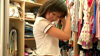 Super cute asian schoolgirl aliona dressing up in front of the camera