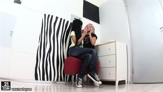 Brunette strips naked to be teased and pleased by her blonde lover
