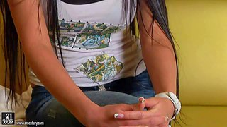 Yong petite and slender brunette teen candy alexa with very long hair and gigantic jaw dropping gazongas in undies gets naughty at the interview and remembers her first double penetration