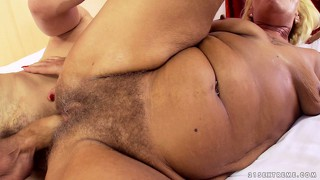 Hairy intimate region of blond vixen gets stimulated by vibrators