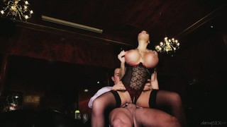 Hot, busty slut with black hair takes control of his cock in more ways than oe