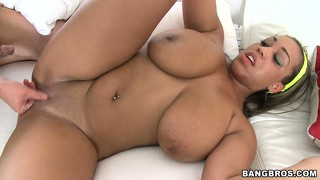 Voluptuous ghetto vixen with enormous knockers gets the d on camera