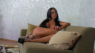 Black haired experienced bitch emma butt with sexy glasses and pierced minge in black stripper shoes plays with her foot loving mature partner and gets licked in arousing living room action