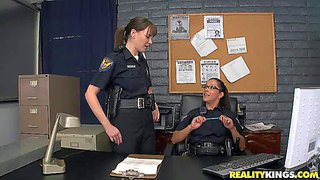 Gorgeous dark haired ladies dana de armond and francesca le are today in the role of two really dirty cop girls, so they get their hands on chris and ramon in the police station
