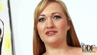 Fresh adult bbw model sara willis with charming smile, sparkling eyes and enormous natural tits takes off her panties and poses totally naked. watch naturally busty chubby lady stand still naked in front of the camera.