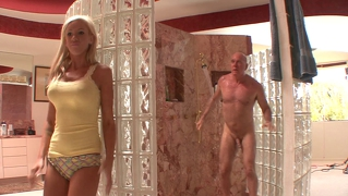 Blonde fucked by older man