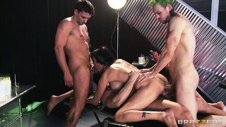 Brunette shay sights gang-banged by three horny guys in a hot porno