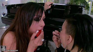 Eva angelina and tory lane are two gorgeous dark haired pornstars that play with sex toys in steamy lesbian action. hot bodied ladies takes toys in their pussies and assholes eagerly.