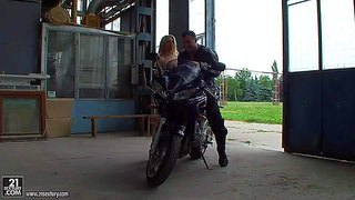 Attractive blonde doll michelle moist with long hair and soft milky skin and dark haired hot ass shalina divine have fun at arousing photo shoot with wild handsome biker in abandoned building