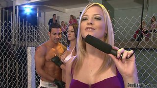 Sweet brunette alexis grace gets down on her knees in the middle of the ring to give blowjob in public. she takes off her white bikini top and enjoys stiff dick in her hot mouth for spectators to watch.