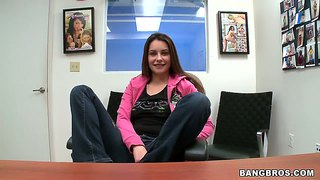 Amateur brunette candy gets naughty at a casting