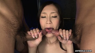 Tall japanese model kotone amemiya getting romped by two horny studs