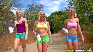 Attractive smoking hot blonde lezzies sammie rhodes and lux kassidy with perfect fit bodies in hot pants seduce their adorable friend with big firm hooters while hiking and bring her home to have wet threesome