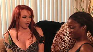 Ebony harpy talks red-head cuttie into fucking