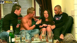 Natalie has a hardcore sex with four guys