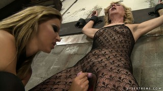 Mistress gets her old slave tied up and toys, then gets her ass licked