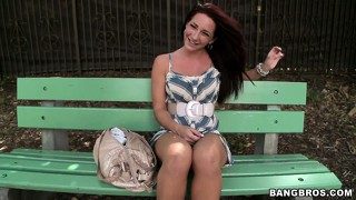 Hot brunette new york gal gets picked up and goes for a ride