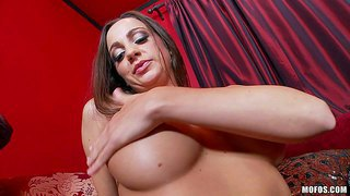 Have fun with luxurious voluptuous horny vixen abigail mac teasing her big milk cans and rubbing her saturated shaved pussy to get herself off while dreaming about big cock to bone her