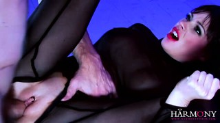 She gets pumped in her stockings and then gets her ass licked
