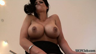 Busty brunette with a big ass gets an anal creampie from a bbc