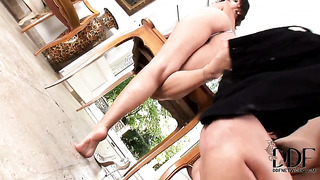 Brunette eve angel and fulfill their sexual needs together in girl-on-girl action