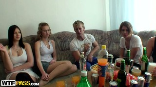 Naughty czech college coeds sitting around drinking and eating on the couch