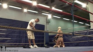 Slender amateur brunette teen aspen with small titties and tight ass fights nude with long haired blonde beauty in the ring and gets stuck in provocative positions on the floor