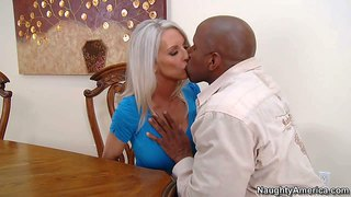 Emma starr is a gorgeous white haired milf with amazing huge boobs. sexy mature woman goes topless and takes big sized black dick in her mouth. topless busty mom gives interracial blowjob eagerly.