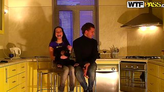 Hot amateur group sex in the kitchen
