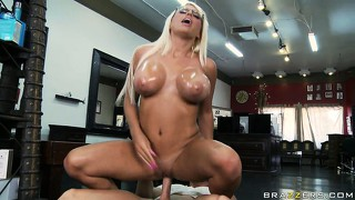 Slutty blonde milf becomes the joy toy as she rides his joy stick