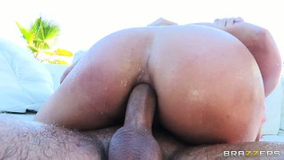 Big-assed and damn stacked blonde enjoying a crazy anal fuck