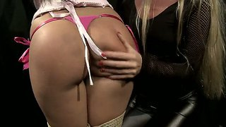 Horny mistress dorina gold is disciplining pretty slave cipriana with vigorous spankings