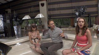 Famous pornstar king rocco siffredi with long meaty rod and his tall black friend michael chapman in suit have fun with petite brunette teen in stockings all over the place