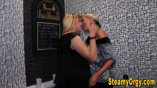 Teen lesbians kissing at party