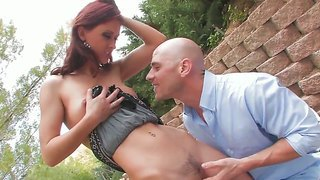 Redhead bitch karlie montana gets johnny sins's dick in the garden and sucks it
