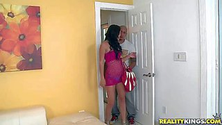 Ava cash is a petite young latina in tiny blue panties. she bares her small boobs and parts her legs in front of her buddy before she takes his fat meaty cock in her eager latin mouth.